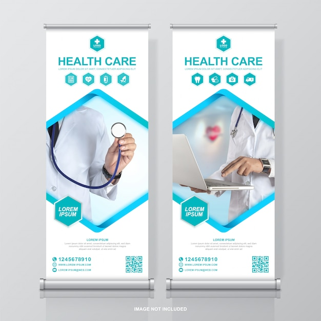 Healthcare and medical roll up design and standee banner template