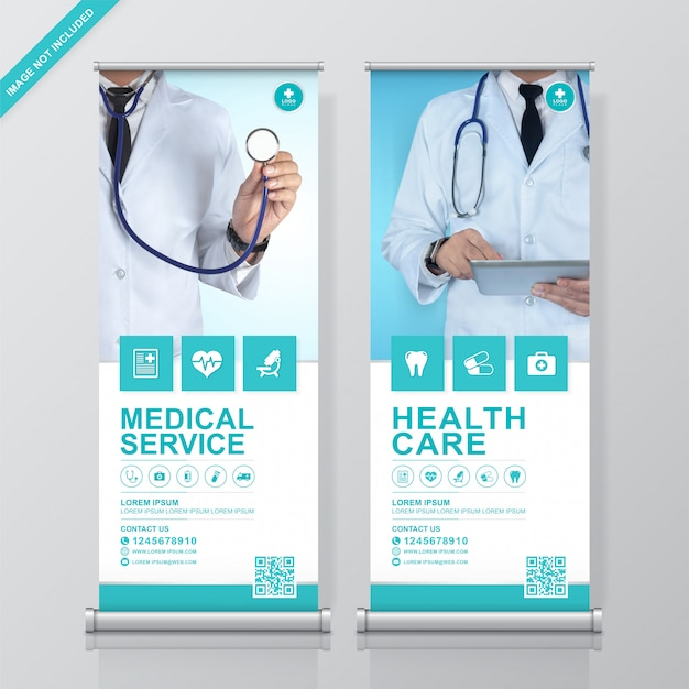 Healthcare and medical rollup and standee design template