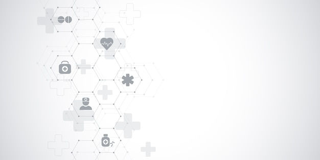 Healthcare medical and science background with icons and symbols. innovation technology .
