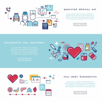 Healthcare, medical services vector banners set