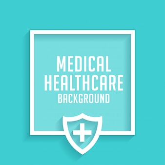 Healthcare medical shield blue background with text space
