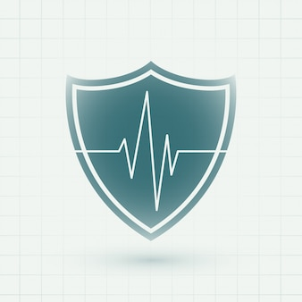 Healthcare medical shield with heartbeat lines symbol
