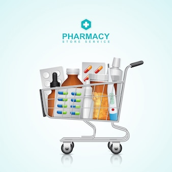 Healthcare and medical shopping cart with bottle pills