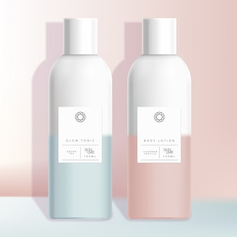 Healthcare, medical, toiletries, hair care or skincare beauty boston bottle with pastel pink or blue gradient minimal design