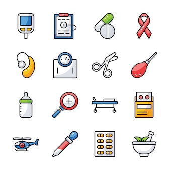 Healthcare and medication icons