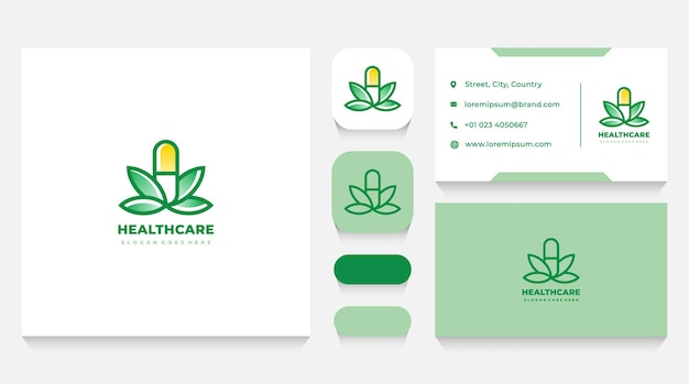 Healthcare medication and leaves logo template and business card
