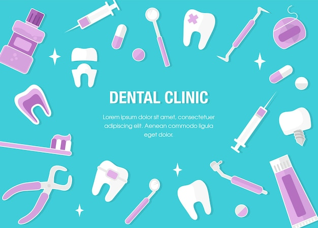 Healthcare and medicine concept. dentistry banner with flat icons. dental concept frame. healthy clean teeth. dentist tools and equipment. flat style