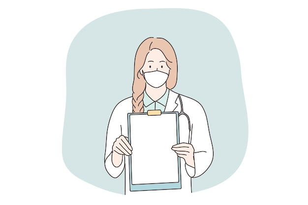Healthcare, medicine, coronavirus, infection, announcement, diagnosis concept. young woman girl hospital worker doctor nurse with medical face mask holding sheet of paper. covid19 disease protection.