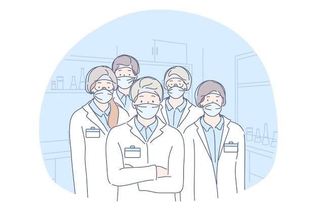 의료, 의학, 감염, 코로나 바이러스, 보호 개념. 의료 얼굴 마스크 일러스트와 함께 남성과 여성 의사 실험실 노동자 과학자 동료의 그룹 또는 팀. covid19는 위험을 제거합니다.