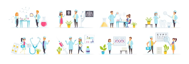 Healthcare and medicine set with people characters in various scenes and situations.