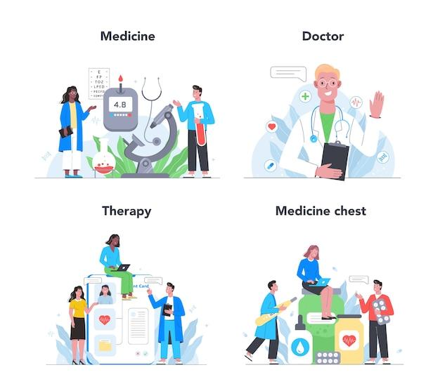 ヘルスケア、現代医学の治療、専門知識、診断セット。制服の専門医。治療と回復。