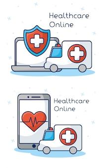 Здравоохранение на линии технологии с набором значков
