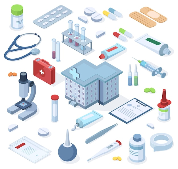 Healthcare pharmacy isometric first aid kit supplies. healthcare medical pharmacy, drugs, bandage, stethoscope vector illustration set. hospital first aid kit emergency box, equipment for treatment