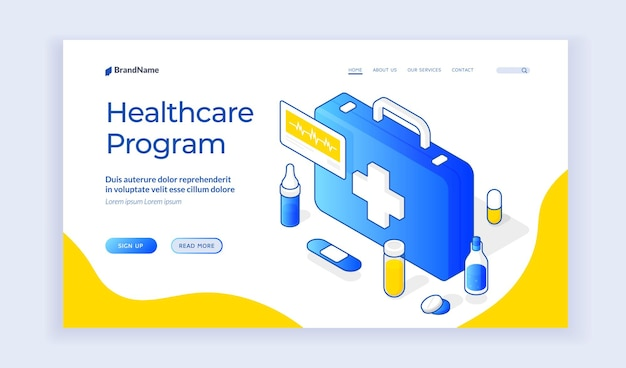 Сайт программы здравоохранения. шаблон баннера целевой страницы