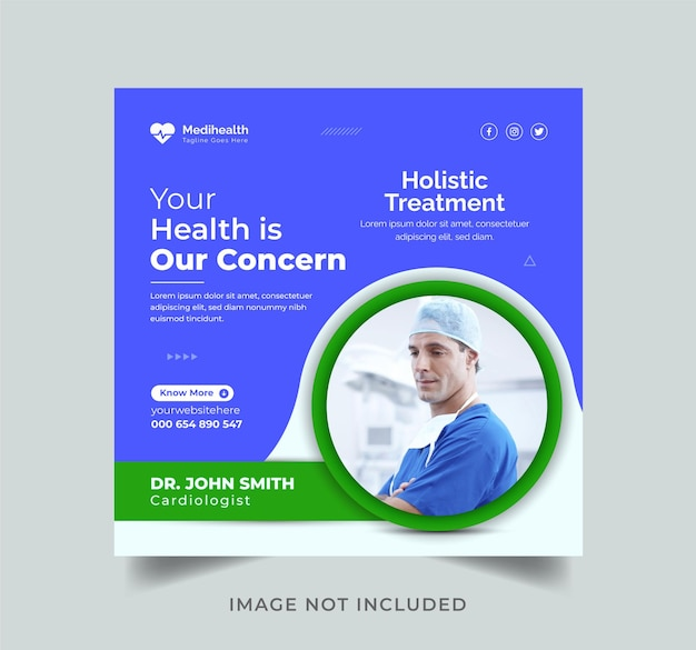 ヘルスケアプロモーションソーシャルメディアinstagram投稿デザインテンプレートプレミアムベクトル