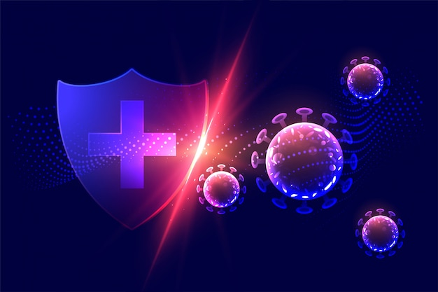 Healthcare protection shield destroying corona virus concept