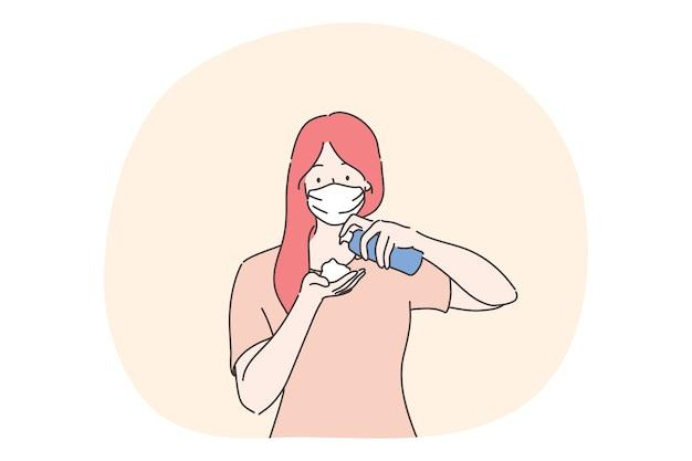 ヘルスケア、検疫、保護、コロナウイルスの概念。手に消毒剤を注ぐ医療用フェイスマスクを持つ若い女性。 covid19病と2019ncov感染のイラストからの予防策。
