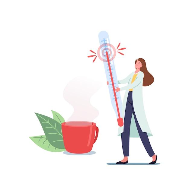 건강 관리, 계절 질병 치료 개념입니다. 의료 가운을 입은 작은 여의사 캐릭터는 독감 치료를 위한 뜨거운 음료가 있는 컵 근처에 거대한 온도계를 들고 있습니다. 만화 벡터 일러스트 레이 션