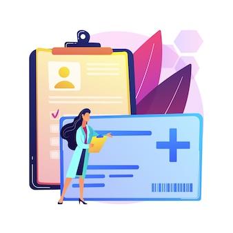 의료 스마트 카드 추상적 인 개념 그림입니다. 환자 신원을 관리하고 의사 및 약사를 안전하게 관리하고 의료 기록에 액세스하고 커뮤니케이션을 개선합니다.