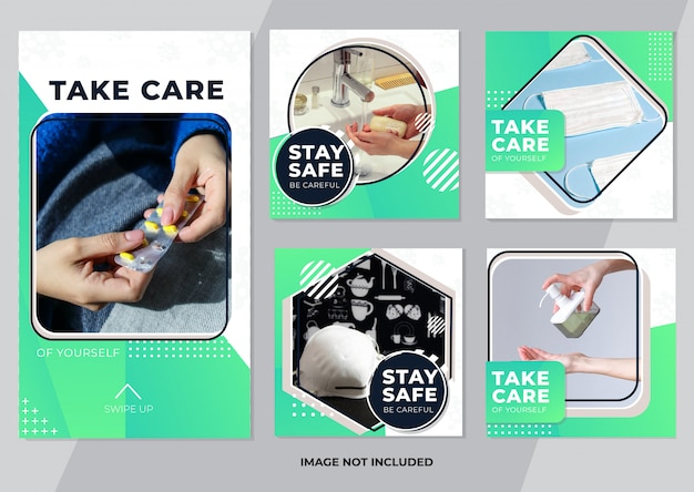 Healthcare social media post and stories template banner collection