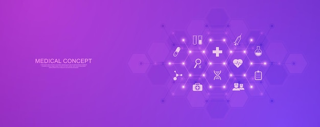 Healthcare and technology concept with flat icons and symbols