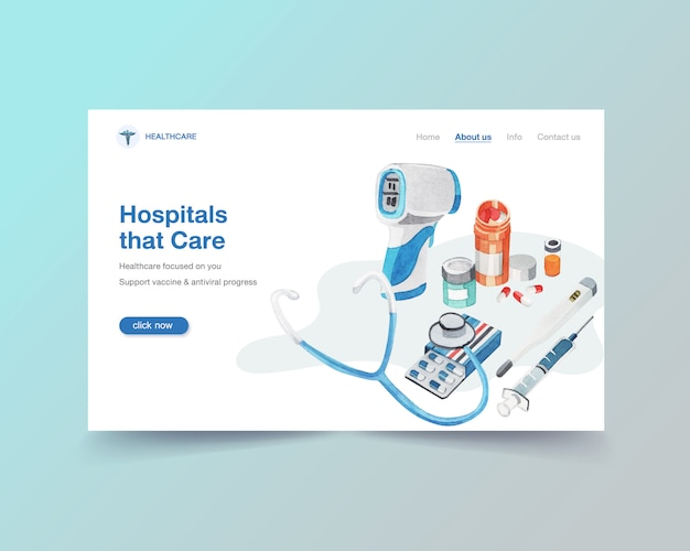 Healthcare website template design with medical equipment