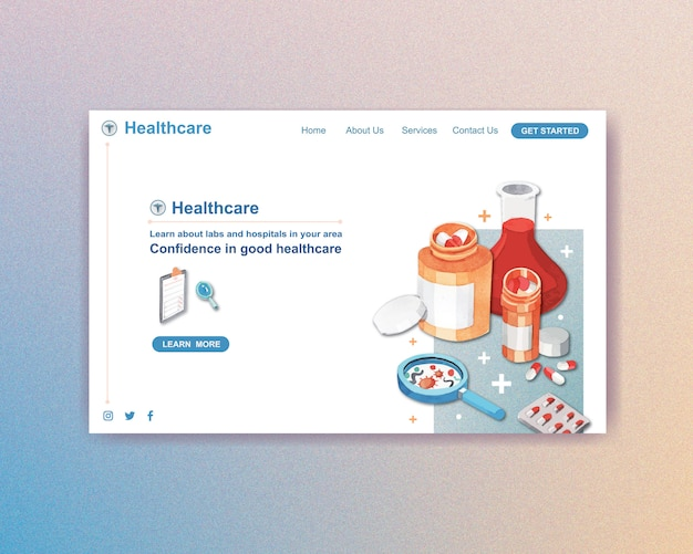 Healthcare website template design with medical staff and doctors and patients