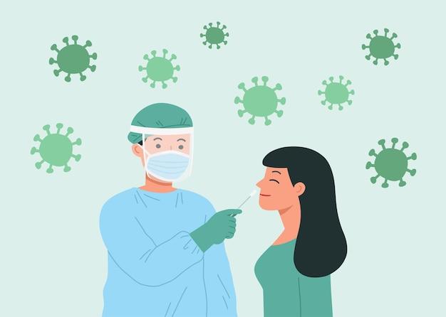 保護具を持った医療従事者が若い女性にコロナウイルススワブを行います。 covid19テストの概念。 covid-19の鼻スワブ。