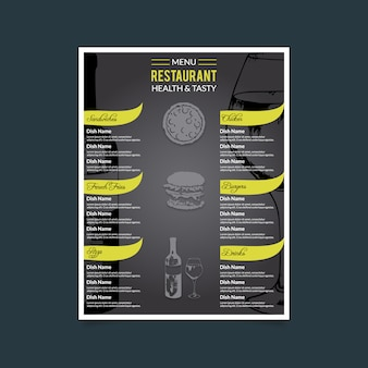 Ristorante menu healthty