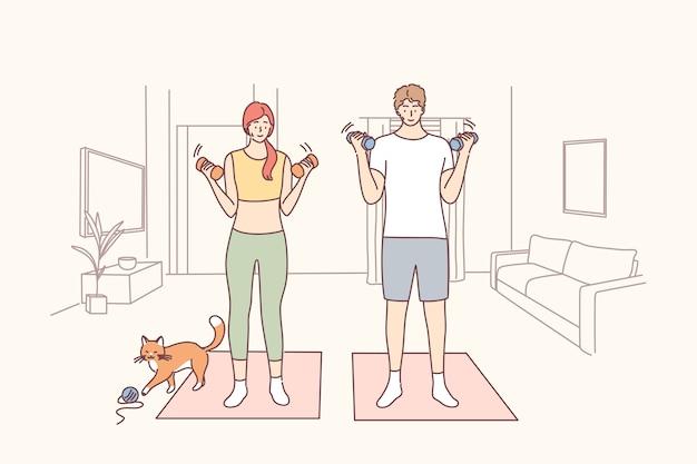 건강한 활동적인 라이프 스타일, 가정 개념 교육.