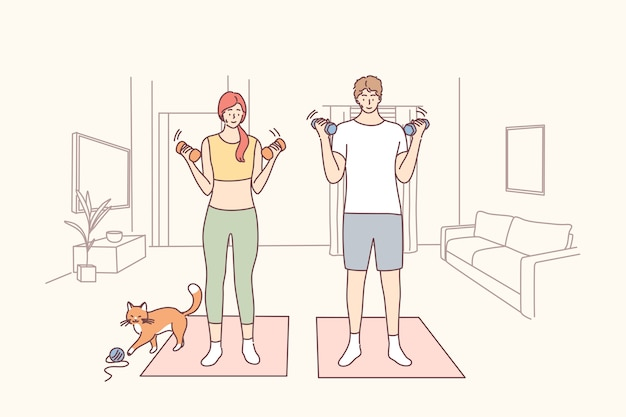 Healthy active lifestyle, training at home concept.