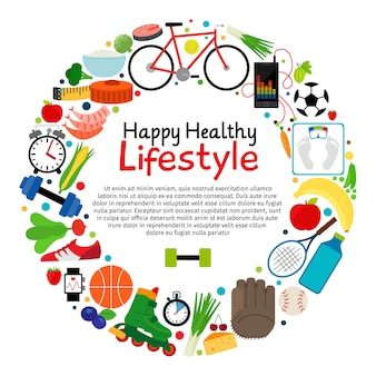 Healthy and active lifestyle vector card