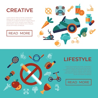 Healthy activity lifestyle icons set