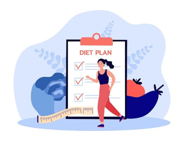クリップボードにダイエット計画チェックリストを持つ女性の健康的な活動。ジョギングトレーニングフラットベクトルイラストの女の子。減量、バナー、ウェブサイトのデザインまたはランディングウェブページの健康的なライフスタイルのコンセプト