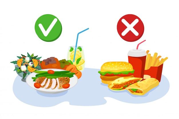건강하고 패스트 푸드 선택, 좋은 영양 또는 햄버거, 일러스트. 좋은 체중을위한 건강한 라이프 스타일 다이어트. 건강에 해로운