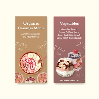Здоровый и органические продукты питания дизайн шаблона флаера для ваучера, реклама акварель