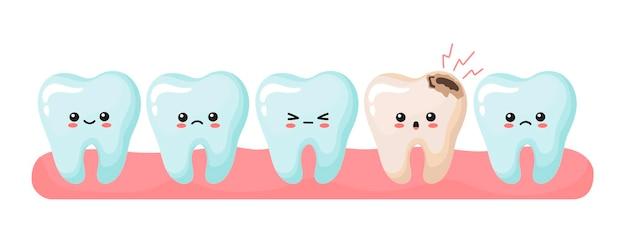 Здоровые и больные зубы в десне. милые каваи зубы. векторные иллюстрации в мультяшном стиле.