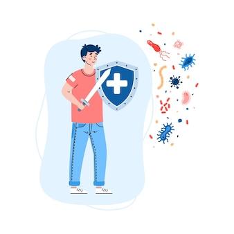 건강하고 강한 면역 체계는 공격 바이러스와 박테리아를 반영합니다.