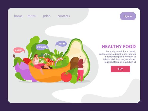 Плоская посадка для здорового питания и супер-еды для веб-сайта с кнопками с интерактивными ссылками и изображениями в виде каракулей