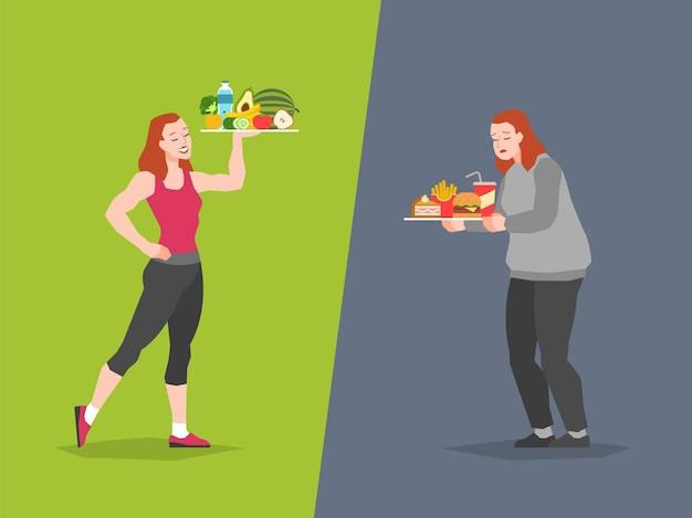 건강하고 건강에 해로운 음식 선택. 패스트 푸드 대 균형 잡힌 메뉴 비교 칼로리, 여성 다이어트 및 건강한 식생활, 나쁘거나 좋은 선택, 벡터 개념