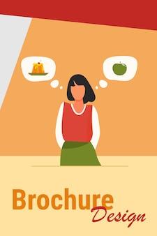 Выбор здоровой и нездоровой пищи. женщина, выбирая между тортом и свежим яблоком плоской векторной иллюстрации. образ жизни, питание, концепция диеты для баннера, дизайна веб-сайта или целевой веб-страницы