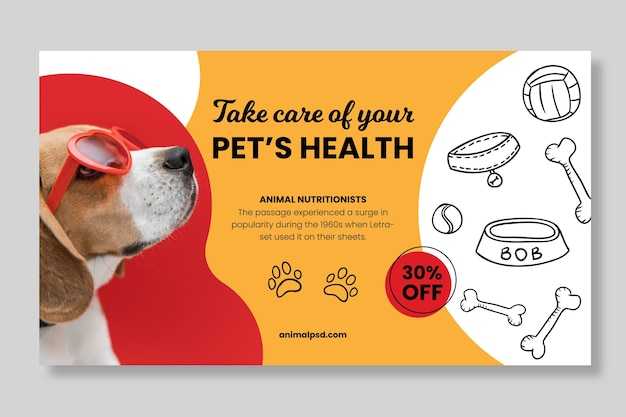 Healthy animal food banner template