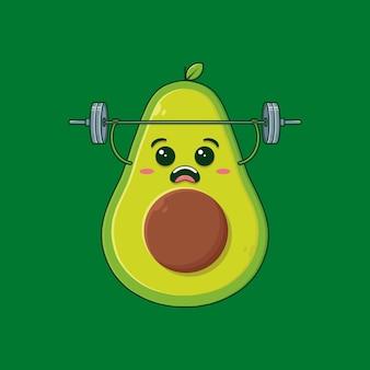 Здоровый авокадо делает упражнения, изолированные на зеленом