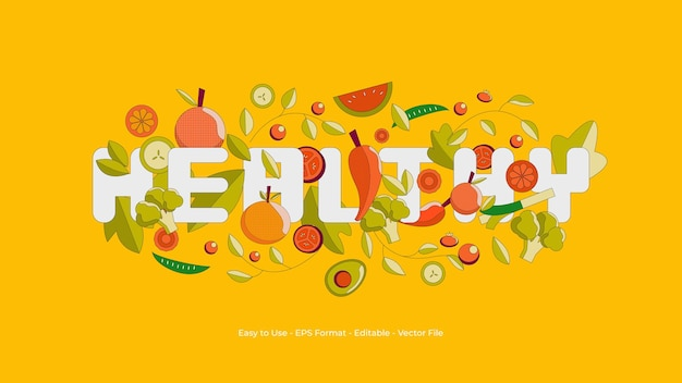 Healthy background illustration with fruits and vegetables component
