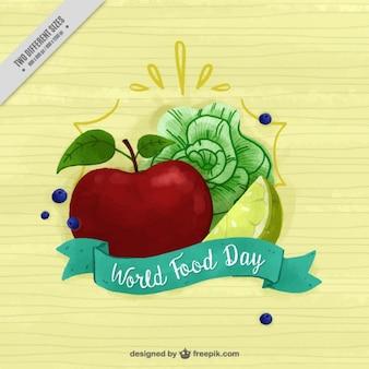 수채화에 양상추와 사과와 건강 한 배경