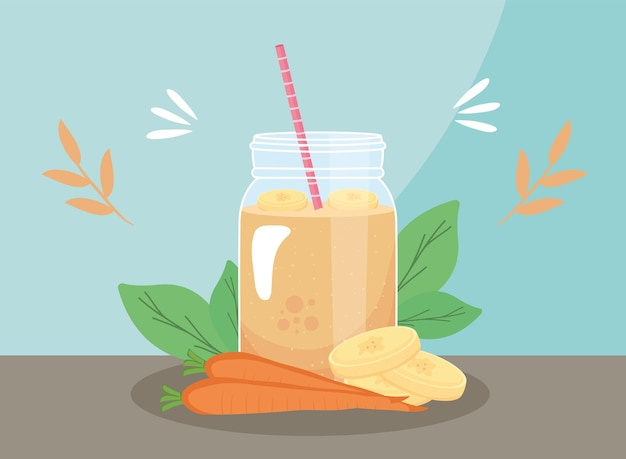 Healthy bananas and carrots smoothie drink glass