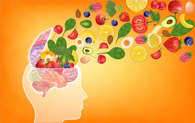Здоровая пища для мозга улучшает концепцию питания в виде группы питательных орехов и овощей