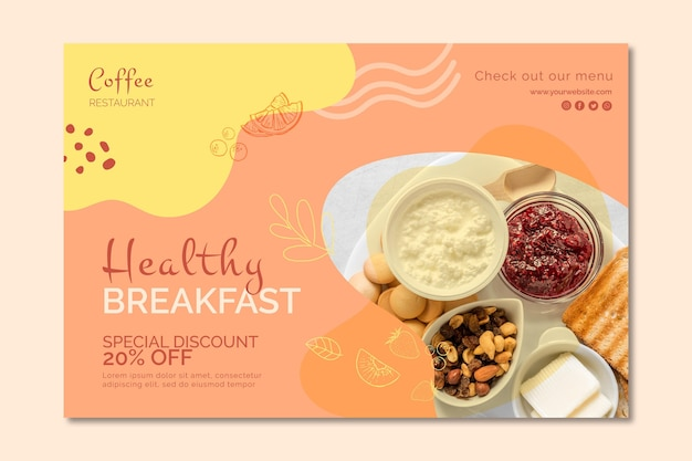 Healthy breakfast banner template