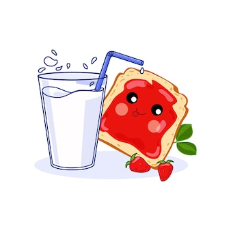 Healthy breakfast concept a glass of milk and a jam sandwich isolated illustration.