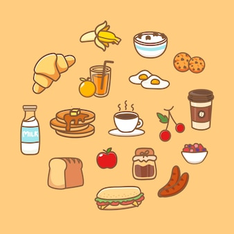 Healthy breakfast dishes set. food icon with cereal, bread, oatmeal, smoothie, pancakes, fruits and berries. cartoon vector illustration.